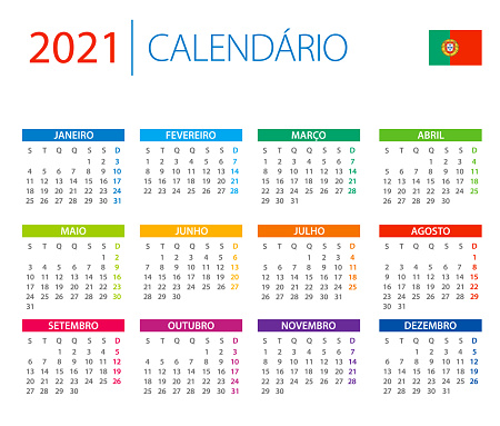Calendar 2021 Portugal - color vector illustration. German Language Version