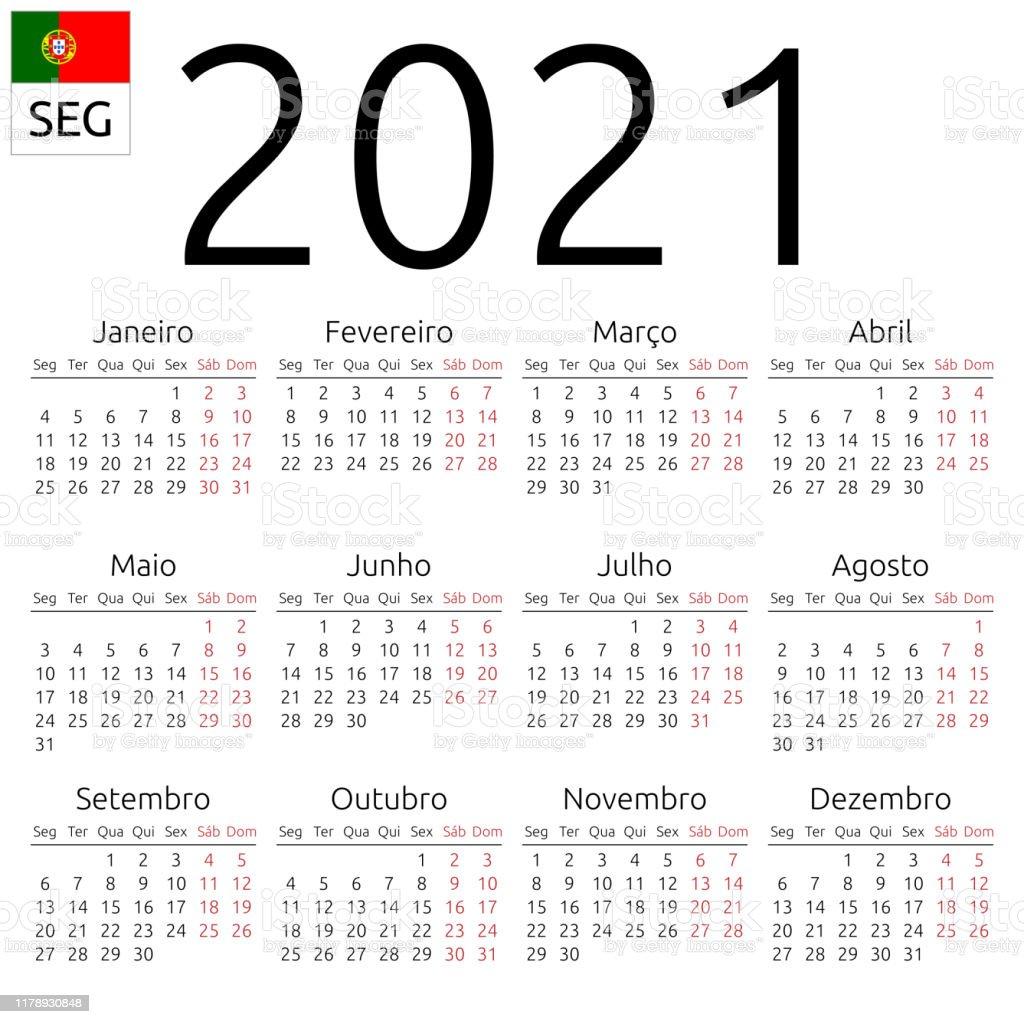 Calendrier 2021 Portugais Lundi Vecteurs libres de droits et plus