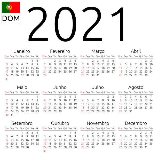 kalendarz 2021, portugalski, niedziela - kultura portugalska stock illustrations