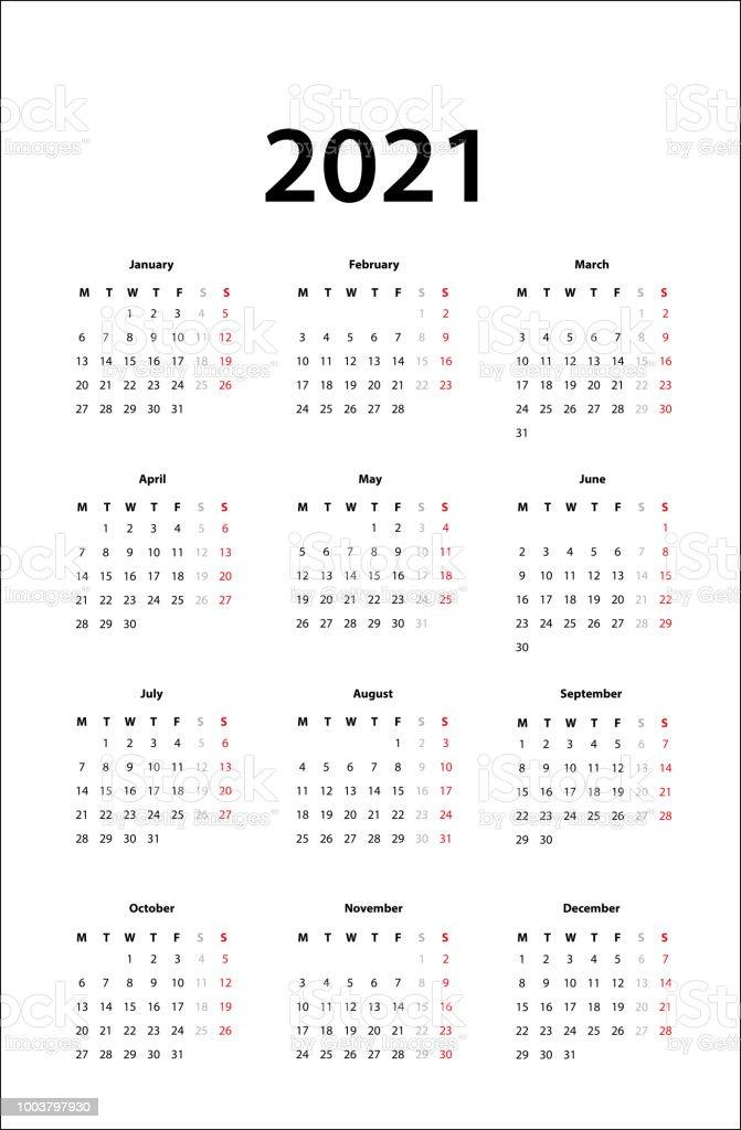 Ilustración de Calendario 2021 Calendario Simple Plantilla Para