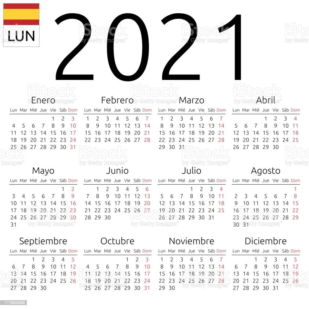Calendrier 2021 Espagnol Lundi Vecteurs libres de droits et plus d