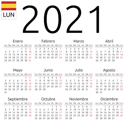 Calendar 2021 Spanish Monday Stock Illustration - Download ...