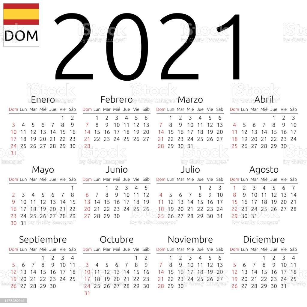 Ilustración de Calendario 2021 Español Domingo y más Vectores