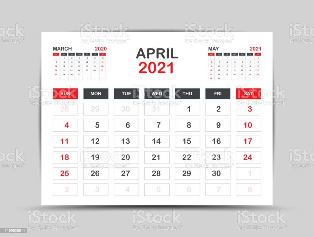 Calendrier 2021 Modèle Vecteur De Page Davril Pour Le Modèle De