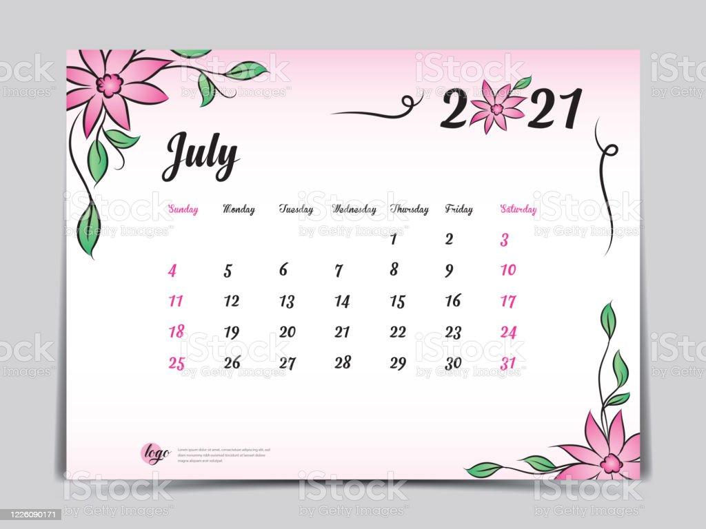 CalendáRio 2021 Criativo Vetores de Calendário 2021 Modelo Pink Flower Concept Design