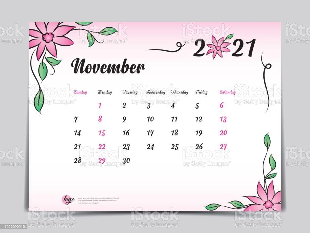 Calendar 2021 Template Pink Flower Concept Creative Design November 2021 Month Simple Desk Calendar Design Week Starts From Sunday Vector Eps10 Stock Illustration Download Image Now Istock