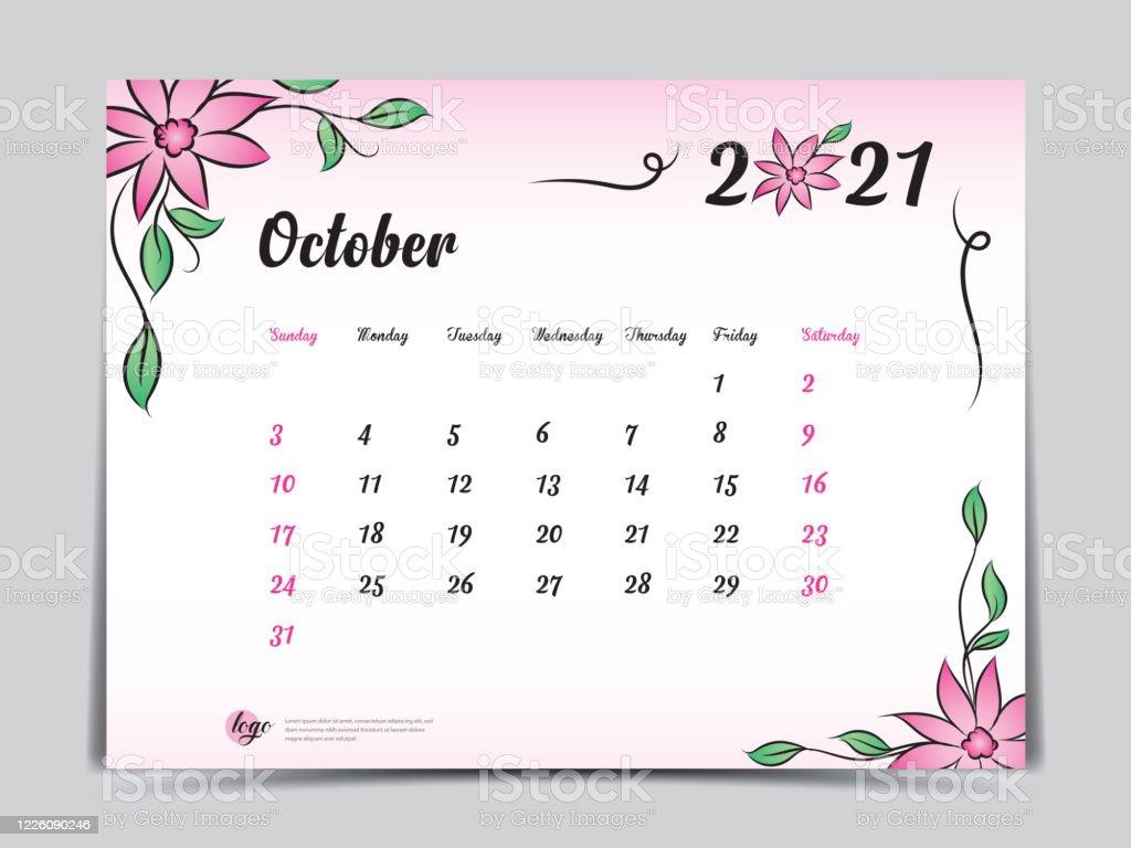 Calendar 2021 Template Pink Flower Concept Creative Design October