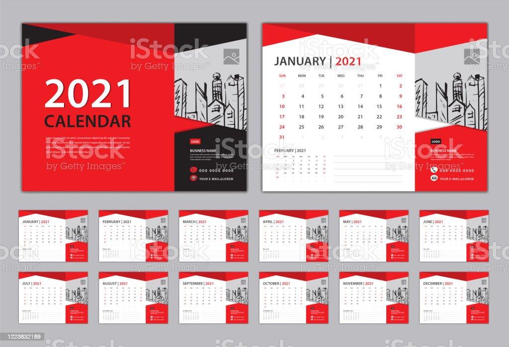 Calendar 2021 Template Red Creative Concept Set Desk ...