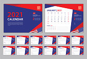 Calendar 2021 Template, Set Desk Calendar design, Set of 12 calendar pages  with Cover design vector, wall Calendar with Typographic, Week starts on Monday, Can be use Place Photo and Company Logo.