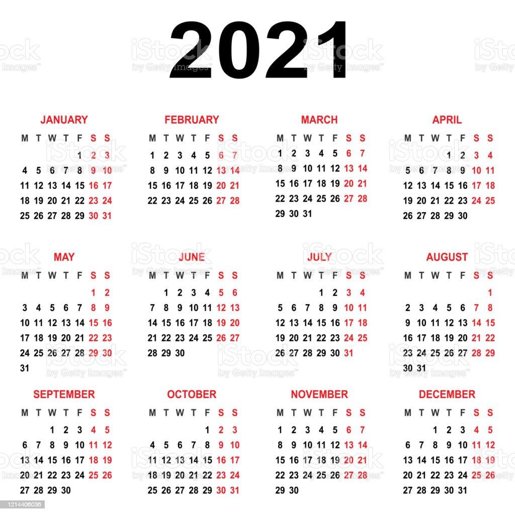 Modèle Calendrier 2021 La Semaine Commence Le Lundi Grille De Base