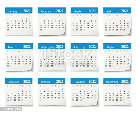 istock Calendar 2021 vector design template week start on Sunday, isolated on a white background. Calendar paper leaf. 1266979380