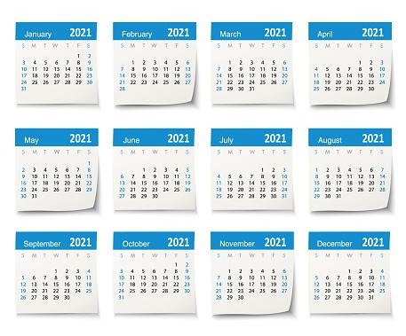 Calendar 2021 vector design template week start on Sunday, isolated on a white background. Calendar paper leaf.