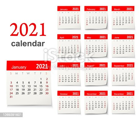 Calendar 2021 vector design template week start on Sunday, isolated on a white background. Calendar paper leaf.