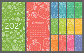 Calendar 2021. Vector English wall calender template. Fruits, berries. Lemon, kiwi, banana, pear, cherry, strawberry, raspberry, watermelon, grapes, apple, pomegranate and mandarin. Hand drawn design. Doodle sketch. Sunday