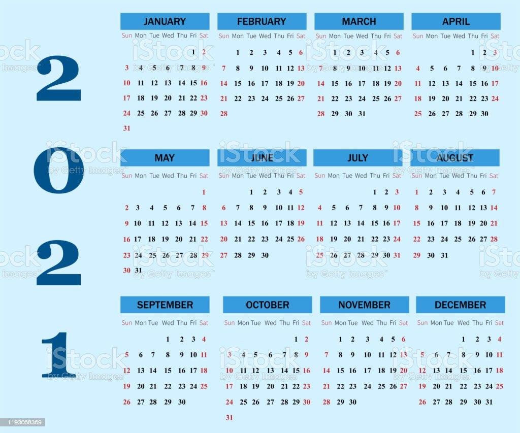 Illustration De Vecteur De Calendrier 2021 La Semaine Commence Le
