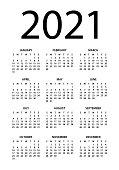 Calendar 2021 - vector illustration. Week starts on Sunday