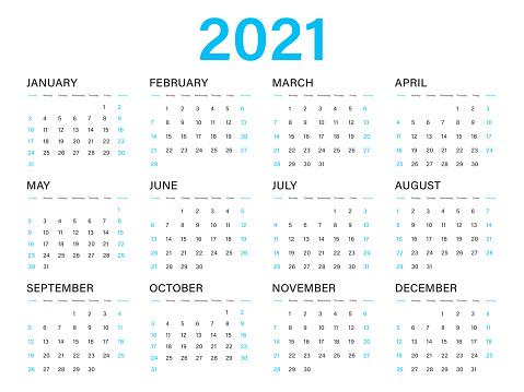 Calendar 2021 Vector Template Simple Minimal Design Yearly ...
