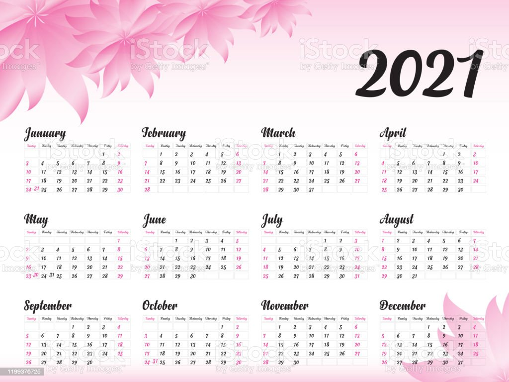 Calendar 2021 Vector Template Simple Minimal Design Yearly