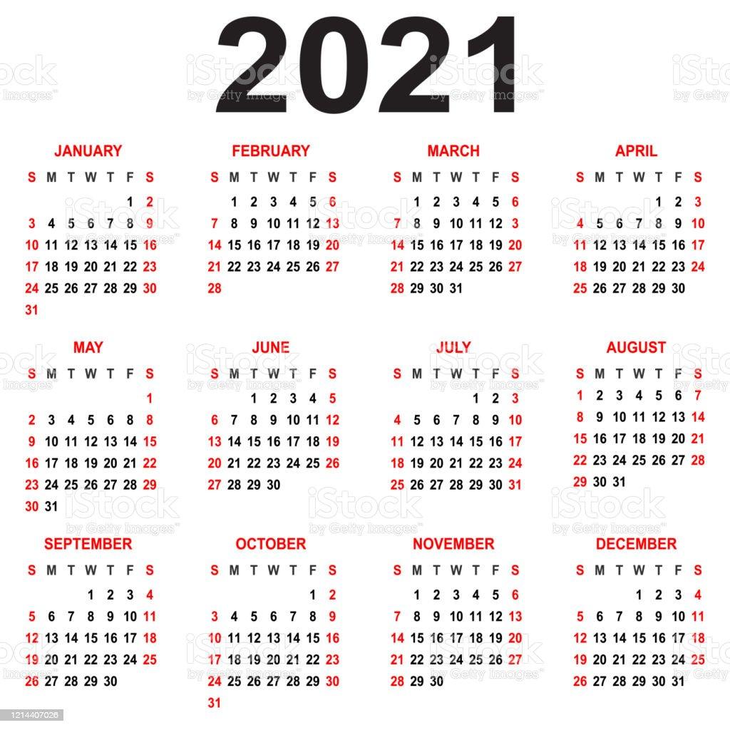 Calendrier 2021 La Semaine Commence Le Dimanche Grille De Base