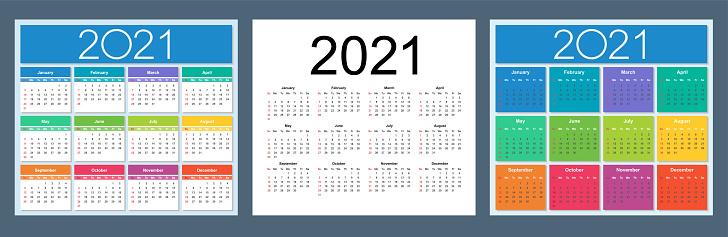 Calendrier 2021 Anglais Calendrier 2021 Année Ensemble Anglais Coloré Vecteurs libres de