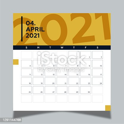 istock Calendar 2021 year template day planner in this minimalist. 2021 April Calendar. Geometric shapes, dark blue and yellow colors. 1291144768