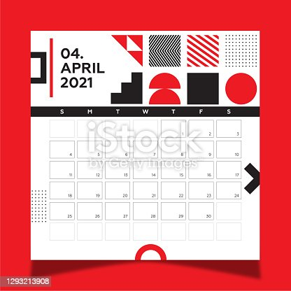 istock Calendar 2021 year template day planner in this minimalist. 2021 April Calendar. Geometric shapes, black and red colors. 1293213908