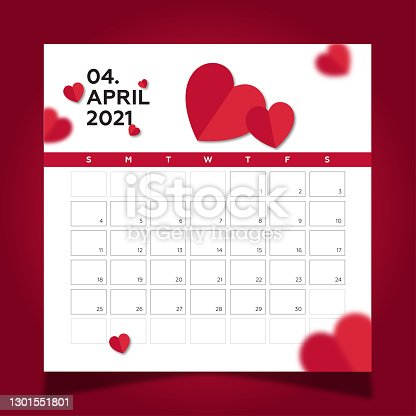 istock Calendar 2021 year template day planner in this minimalist. 2021 April Calendar. Heart shapes and red background 1301551801