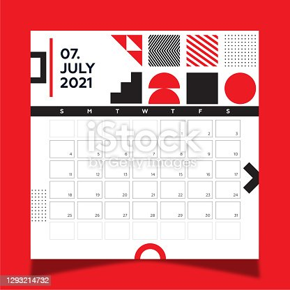 istock Calendar 2021 year template day planner in this minimalist. 2021 July Calendar. Geometric shapes, black and red colors. 1293214732