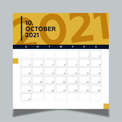 Calendar 2021 year template day planner in this minimalist. 2021 October Calendar. Geometric shapes, dark blue and yellow colors.