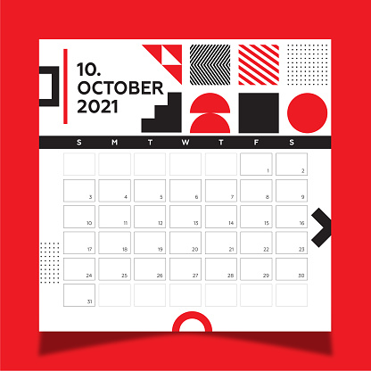 Calendar 2021 year template day planner in this minimalist. 2021 October Calendar. Geometric shapes, black and red colors.