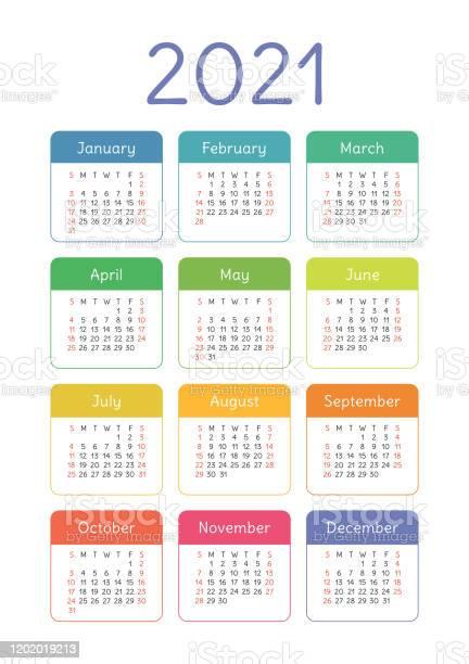 Calendar 2021 Year Vector Kids Pocket Or Wall Calender ...