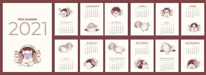 Calendar 2021. Yearly calendar - planner with all months. Conceptual Design - Yoga for Pets. Set of templates for 12 months 2021 with cute sheep meditating, doing yoga and standing in asanas. Vector. 13 sheets a4 format