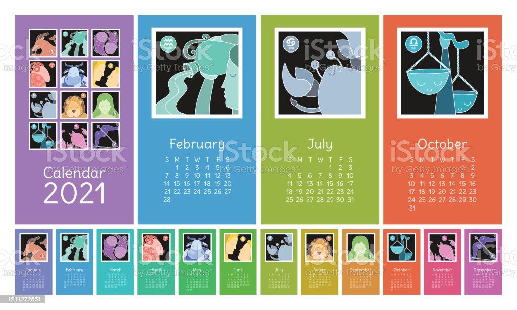 Ilustración de Calendario 2021 Signos Del Zodíaco Acuario Libra
