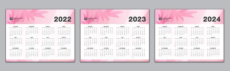 Calendar 2022, 2023, 2024 year template, Simple calendar, desk calendar design,  wall calendarWeek starts from Sunday. Set of 12 Months, Planner, poster, vector eps10, Pink flowers background