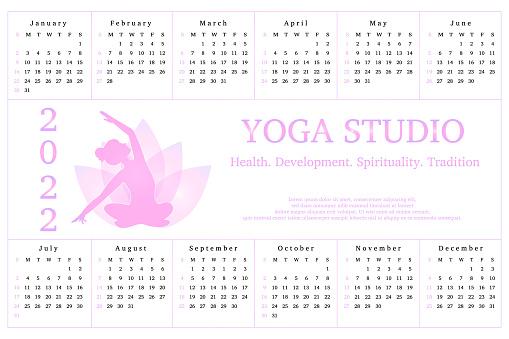 Calendar 2022, advertisement yoga studio