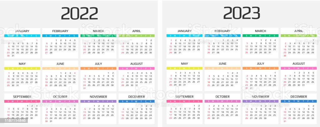 Event Calendar 2022.Calendar 2022 And 2023 Template 12 Months Include Holiday Event Stock Illustration Download Image Now Istock