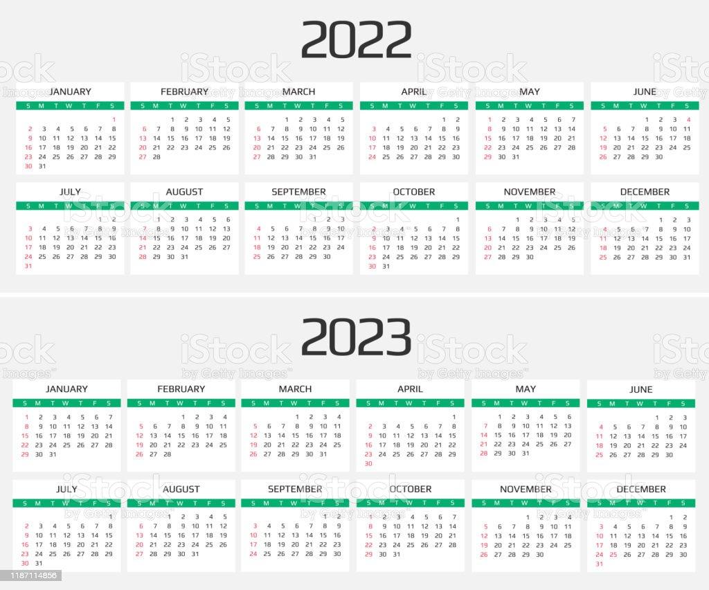 Calendrier 2022 2023 Calendrier 2022 Et 2023 Modèle 12 Mois Inclure Lévénement De