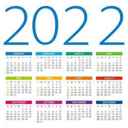 Calendar 2022 - color vector illustration. Week starts on Sunday