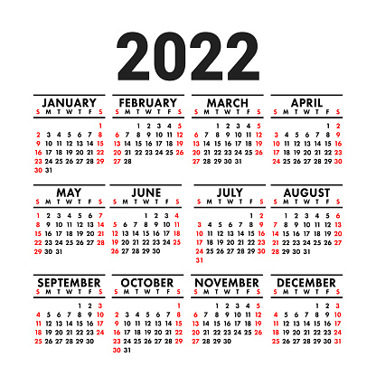 Calendar 2022. English vector square wall or pocket calender design template. New year. Week starts on Sunday. Black, red and white colors