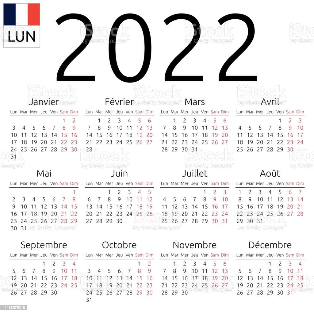 Calendrier Francais 2022 Calendrier 2022 Français Lundi Vecteurs libres de droits et plus d