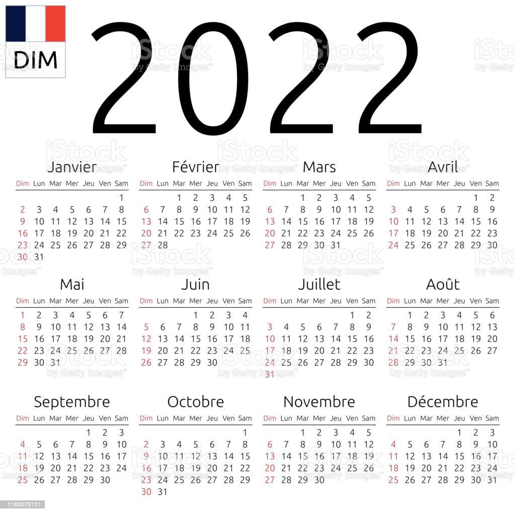 Calendrier Francais 2022 Calendrier 2022 Français Dimanche Vecteurs libres de droits et
