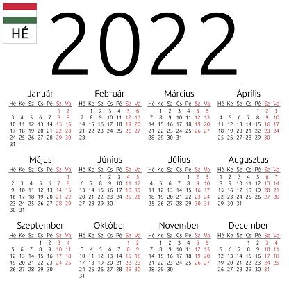 Cps 2022 Calendar.Calendar 2022 Hungarian Monday Stock Illustration Download Image Now Istock