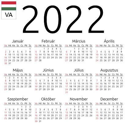Scps Calendar 2022.Calendar 2022 Hungarian Sunday Stock Illustration Download Image Now Istock