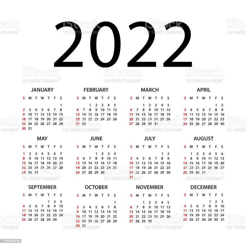 Calendar 2022 Illustration Week Starts On Sunday Calendar Set For 2022 Year Stock Illustration Download Image Now Istock