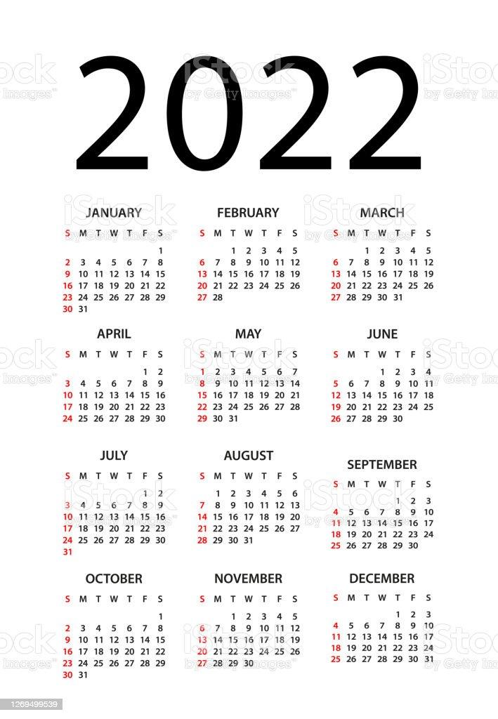 Free Desktop Calendar 2022.Calendar 2022 Illustration Week Starts On Sunday Calendar Set For 2022 Year Stock Illustration Download Image Now Istock