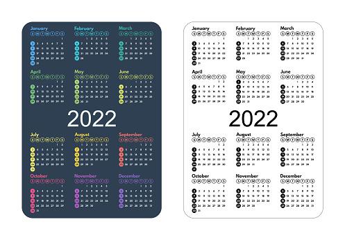 calendar 2022 minimalistic full year grid, pocket size, sunday first