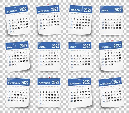 Calendar 2022 on blank brackground