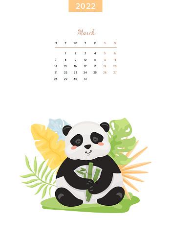 Calendar 2022 page. March month, wild animal.