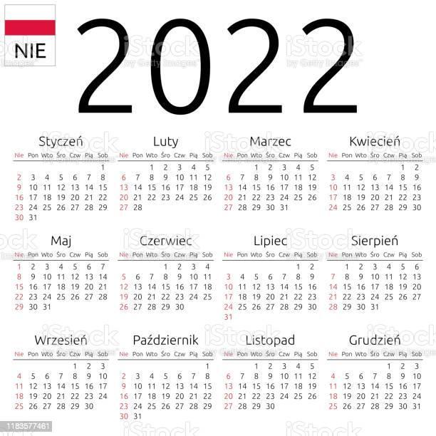 2022 Cow Calendar.Calendar 2022 Polish Sunday Stock Illustration Download Image Now Istock