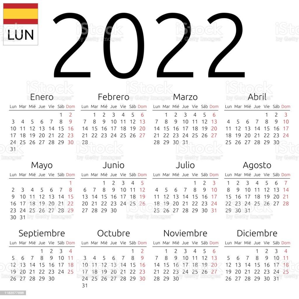 Calendrier Espagnol 2022 Calendrier 2022 Espagnol Lundi Vecteurs libres de droits et plus d